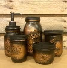 Mason Jar Bathroom Decor Vintage Mason Jar Bathroom Set Black Copper Bathroom Set Rustic