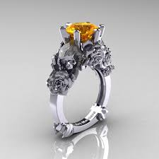 citrine engagement rings and sorrow 14k white gold 3 0 ct citrine skull and