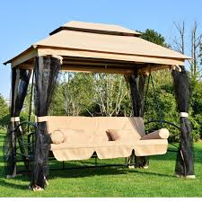 Outdoor Swing Chair Canada Outsunny Outdoor 3 Person Patio Daybed Canopy Gazebo Swing Chair