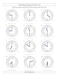 Time Clock Worksheets Reading Time On 12 Hour Analog Clocks In Half Hour Intervals A