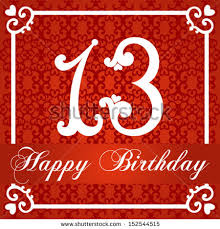 happy birthday card number thirteen vector stock vector 152544515