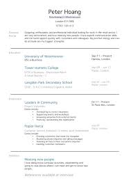 curriculum vitae template leaver jobs exle of a resume with no work experience