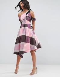prom dresses from the 80s asos asos stripe checked 80s one shoulder prom dress
