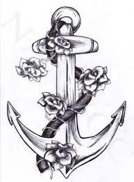 modern grey ink roses and anchor tattoos stencil tattooshunter com