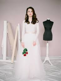 amy lace wedding dress wedding gown with long sleeves blush