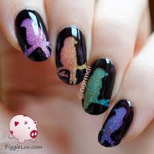 piggieluv glitter rainbow birds nail art