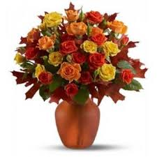50 mix colour roses in glass vase myflowergift