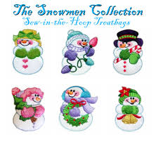 snowmen sew in the hoop treatbags embroidery designs collection