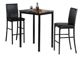 Black Bistro Table Rectangle Faux Marble Bistro Table With Black Leather Upholstered