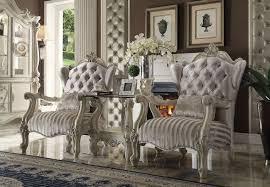 Ivory Accent Chair Acme 52087 Versailles 3pcs Ivory Velvet Bone White Accent Chair Set