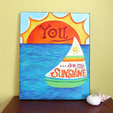 Wall Art For Kids Room by You Are My Sunshine Sailboat Acrylic Canvas Painting Done With