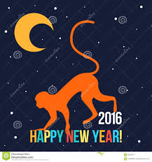 happy new year card template with bright red monkey stock vector
