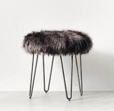 exotic faux fur stool russian black mink