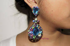 drag clip on earrings multicolor chandelier rhinestone bridal drag pageant