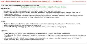 aircraft mechanic and service technician knowledge u0026 skills