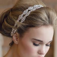 wedding hair bands fashion retro style women hairband rhinestone gray