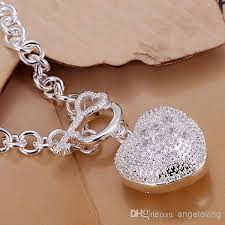 silver bracelet with heart pendant images 2018 fashion 925 silver bracelet jewelry diamond hollow heart jpg