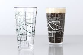 Michigan State University Map by East Lansing Mi Michigan State College Town Map Pint Glass