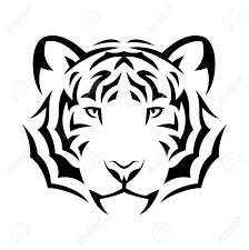 tribal tiger design illustration black isolated on white