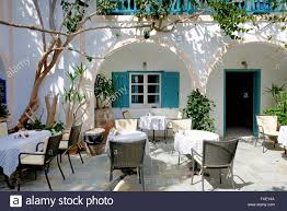 the outdoor restaurant in traditional greek style santorini