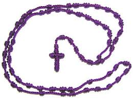 purple rosary knotted rosary spiritual necklace purple rosary jewelry