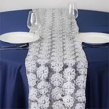 tulle table runner sequin studded floral tulle table runner 12 x 108 white
