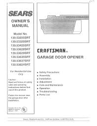 Sear Garage Door Opener Remote by Craftsman Garage Door Opener 139 53325srt User Guide
