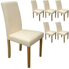 Tan Faux Leather Dining Chairs Set Of 6 Cream Faux Leather Torino Dining Chairs Cream With Padded
