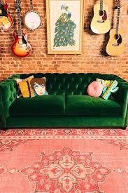 tufted velvet sofa green velvet couch with music accents uohome pinterest