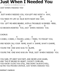 country song lyrics with chords just when i needed you
