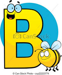 clipart vector of bee with letters b happy bee by a letter b