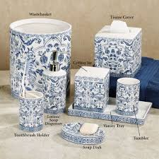 Gray And White Bathroom Accessories by Orsay Blue Toile Porcelain Bath Accessories