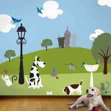 cat and dog wall mural stencil kit for kids or baby room details this cat and dog wall mural