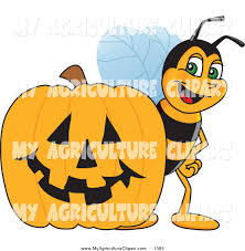 clipart of halloween vector cartoon agriculture clipart of a worker bee by a halloween