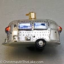 travel trailer airstream ornament at the lake