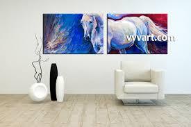 Living Room Paintings 2 Piece Blue Canvas Horse Wildlife Art