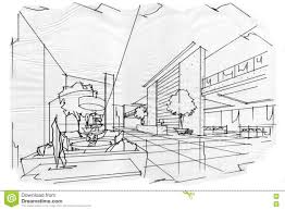 sketch perspective interior lobby black and white interior