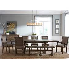 seven piece rustic dining set with bench by kincaid furniture