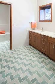 broken tile floor bathroom rustic with accent transitional wall