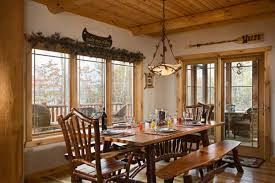 Log Cabin Dining Room Furniture Great Rooms With Knotty Pine Ceilings And Drywall Walls Legacy