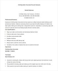 Sample Resume For Clothing Retail Sales Associate by Clothing Sales Resume Sample Resume Sales Associate Clothing