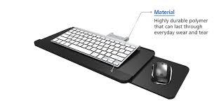 retractable wall mounted plastic keyboard tray with sliding mouse