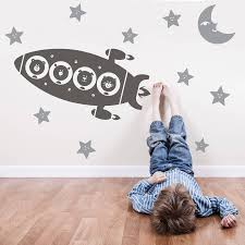 rocket stickers walls animal space rocket trip wall stickers baby s room