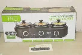 3 Crock Slow Cooker Buffet by Tru Three Crock Buffet Slow Cooker Crock Pot Kitchen Warmer