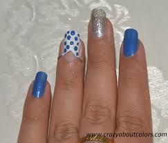 blue and silver bow nail art crazy about colors