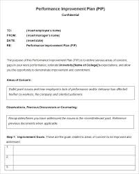 performance plan template performance improvement plan template