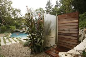 Outdoor Showers Fixtures - outdoor shower fixtures patio beach style with white picket