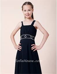 pretty sheath straps long dark navy blue chiffon junior bridesmaid