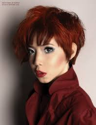 short haircut with various lengths and asymmetry for red asian hair