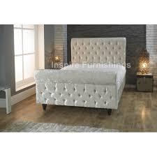 Chesterfield Sleigh Bed Crushed Velvet Sleigh Bed Stead